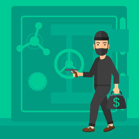A professional burglar in black mask with hand gun near the big safe door vector flat design illustration. Square layout.  イラスト・ベクター素材