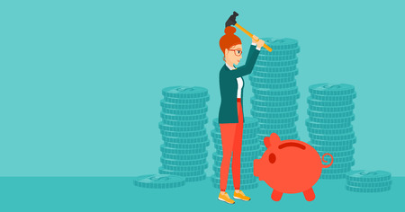 desperation: A woman with a hammer breaking a piggy bank on a blue background with stacks of coins vector flat design illustration. Horizontal layout.