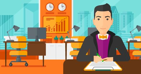 signing: A man sitting at the table and signing a contract on the background of panoramic modern office with city view vector flat design illustration. Horizontal layout.