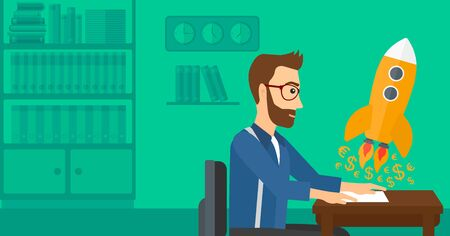 A hipster man with the beard sitting at the table and looking at a rocket with money taking off the paper on the background of office vector flat design illustration. Horizontal layout.