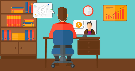 A man sitting in the office and talking with other man using video chat vector flat design illustration. Horizontal layout.