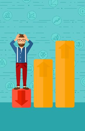 uprising: Upset hipster man with the beard clutching his head and standing in bottom of uprising chart on a blue background with business icons vector flat design illustration. Vertical layout. Illustration