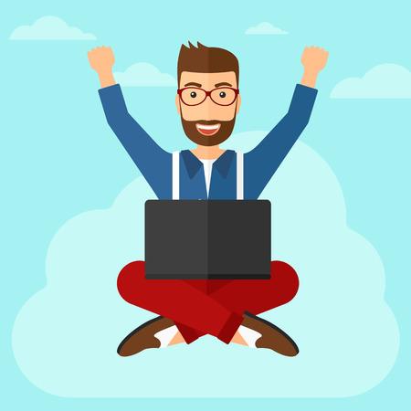 manos levantadas al cielo: Un hombre de negocios feliz con las manos levantadas sentado en una nube con un ordenador port�til en el fondo de cielo azul ilustraci�n vectorial dise�o plano. de planta cuadrada. Vectores