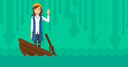 A scared business woman standing in a sinking boat and asking for help on the background of arrows moving down vector flat design illustration. Horizontal layout. 矢量图像