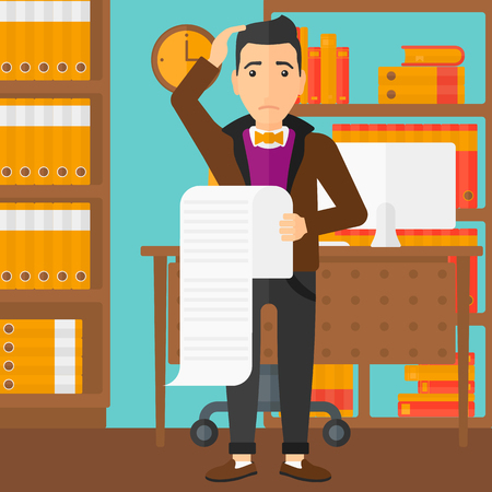 worried man: A worried man holding a long bill in hand on the background of business office vector flat design illustration. Square layout.