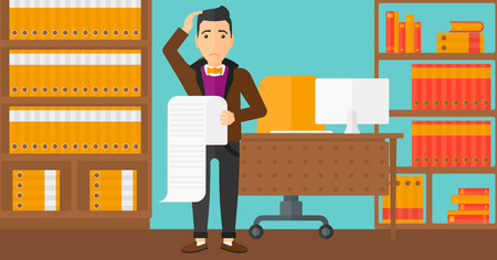 A worried man holding a long bill in hand on the background of business office vector flat design illustration. Horizontal layout.