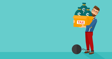 man trapped: Chained to a large ball hipster man with the beard carrying heavy box with bags full of taxes on a blue background vector flat design illustration. Horizontal layout.