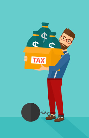 carrying box: Chained to a large ball hipster man with the beard carrying heavy box with bags full of taxes on a blue background vector flat design illustration. Vertical layout.