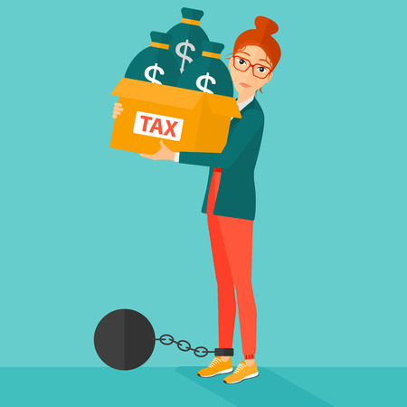 carrying box: Chained to a large ball woman carrying heavy box with bags full of taxes on a blue background vector flat design illustration. Square layout.