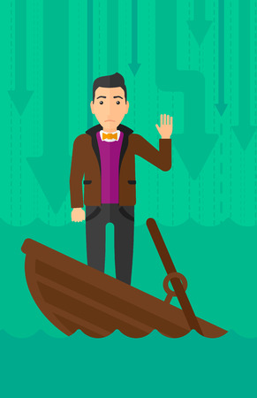 moving down: A scared businessman standing in a sinking boat and asking for help on the background of arrows moving down vector flat design illustration. Vertical layout.