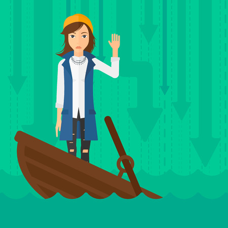 moving down: A scared business woman standing in a sinking boat and asking for help on the background of arrows moving down vector flat design illustration. Square layout.