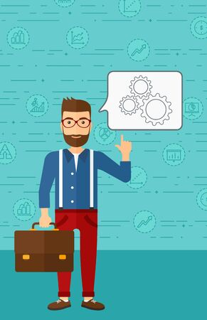 forefinger: A hipster man with the beard pointing his forefinger at a bubble with some cogwheels inside on a blue background with business icons vector flat design illustration. Vertical layout.
