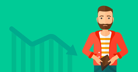 empty wallet: A hipster man with the beard showing his epmty purse on a green background with decreasing chart vector flat design illustration. Horizontal layout.