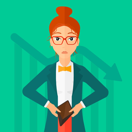 insolvent: A woman showing her epmty purse on a green background with decreasing chart vector flat design illustration. Square layout.