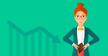 empty wallet: A woman showing her epmty purse on a green background with decreasing chart vector flat design illustration. Horizontal layout.