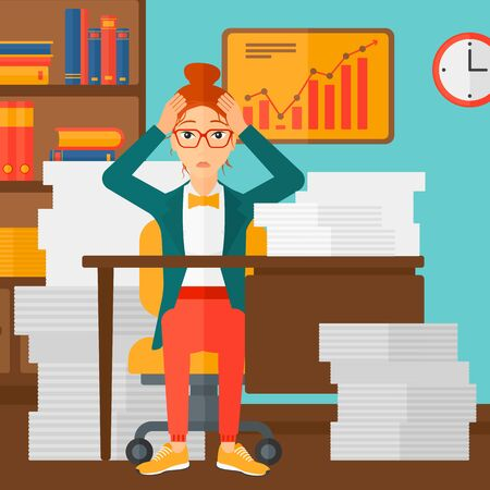 A woman in despair sitting at the table and clutching her head in front of heap of papers on the background of business office vector flat design illustration. Square layout.
