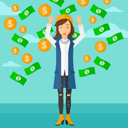 A woman with raised hands up standing under  flying money on the background of blue sky vector flat design illustration. Square layout.