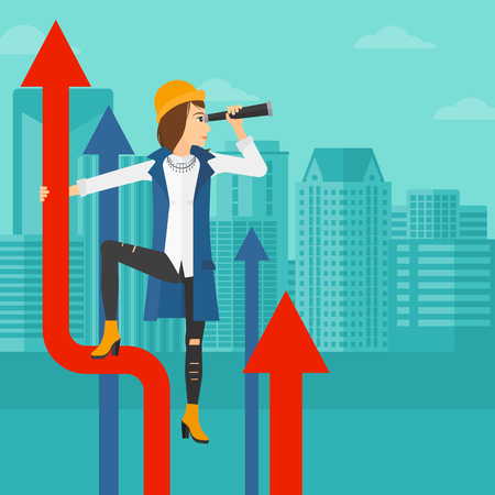 business woman standing: A business woman standing on the top of graph arrow and looking through spyglass on the background of modern city vector flat design illustration. Square layout.