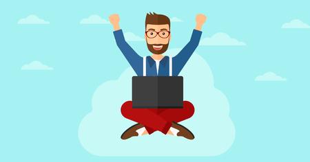 manos levantadas al cielo: Un hombre de negocios feliz con las manos levantadas sentado en una nube con un ordenador port�til en el fondo de cielo azul ilustraci�n vectorial dise�o plano. disposici�n horizontal.