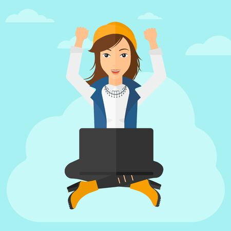 hands raised sky: A happy business woman with raised hands sitting on a cloud with a laptop on the background of blue sky vector flat design illustration. Square layout.