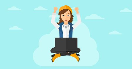 woman laptop: A happy business woman with raised hands sitting on a cloud with a laptop on the background of blue sky vector flat design illustration. Horizontal layout.
