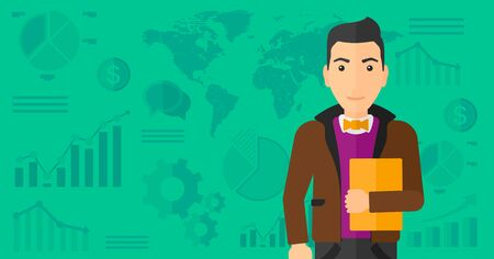 file clerk: An office clerk holding a file in hand while standing with growing chart and a map on a background vector flat design illustration. Horizontal layout. Illustration