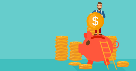 A hipster man with the beard saving his money by putting a coin in a big piggy bank on a blue background vector flat design illustration. Horizontal layout.