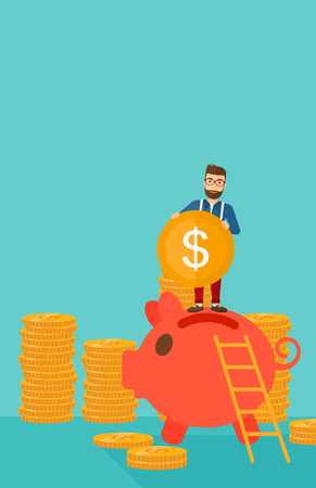 A hipster man with the beard saving his money by putting a coin in a big piggy bank on a blue background vector flat design illustration. Vertical layout. Illustration