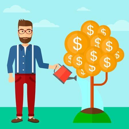 A hipster man with the beard taking care of finances watering a money tree on the background of blue sky vector flat design illustration. Square layout.
