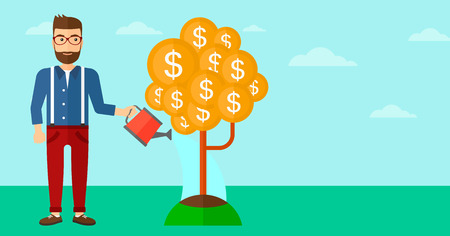 A hipster man with the beard taking care of finances watering a money tree on the background of blue sky vector flat design illustration. Horizontal layout. Ilustrace