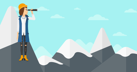 A woman standing on the top of mountain and looking through spyglass on the background of blue sky vector flat design illustration. Horizontal layout.