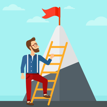 stair climber: A hipster man with the beard holding the ladder to get the red flag on the top of mountain on the background of blue sky vector flat design illustration. Square layout. Illustration