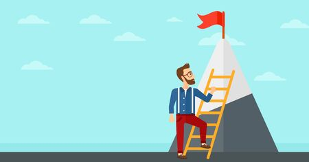 stair climber: A hipster man with the beard holding the ladder to get the red flag on the top of mountain on the background of blue sky vector flat design illustration. Horizontal layout.
