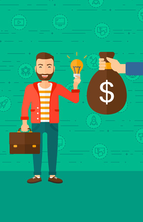 exchanging: A hipster man with the beard exchanging his idea bulb to money bag on a green background with business and technology icons vector flat design illustration. Vertical layout. Illustration