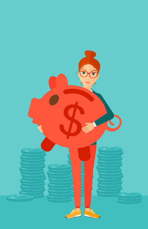 woman holding money: A woman holding a big piggy bank in hands on a blue background vector flat design illustration. Vertical layout.