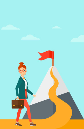 A woman with a suitcase in hand standing on a road leading to the top of the mountain with a flag on the background of blue sky vector flat design illustration. Vertical layout.