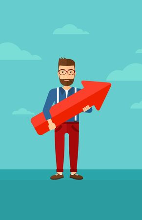 A hipster man with the beard holding a big arrow in hands on the background of blue sky vector flat design illustration. Vertical layout.