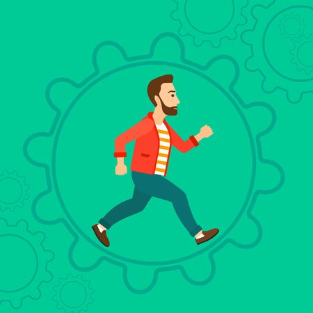 A hipster man with the beard running inside a big cogwheel on a green background vector flat design illustration. Square layout.
