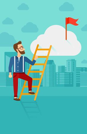stair climber: A hipster man with the beard holding the ladder to get the red flag on the top of the cloud on the background of modern city vector flat design illustration. Vertical layout.