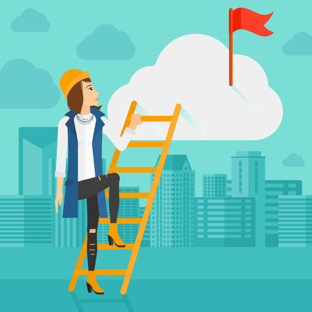 stair climber: A woman holding the ladder to get the red flag on the top of the cloud on the background of modern city vector flat design illustration. Square layout.