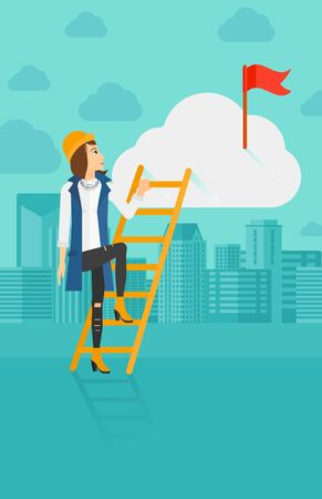hold high: A woman holding the ladder to get the red flag on the top of the cloud on the background of modern city vector flat design illustration. Vertical layout.