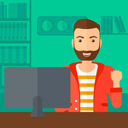 looking at computer: A hipster man with the beard expressing great satisfaction while looking at computer monitor on the background of business office vector flat design illustration. Square layout.