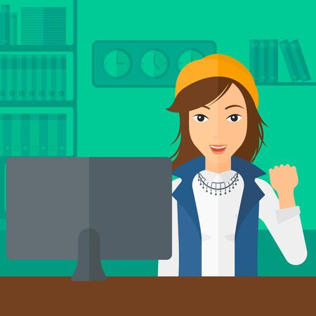 looking at computer: A woman expressing great satisfaction while looking at computer monitor on the background of business office vector flat design illustration. Square layout.