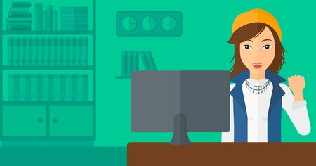manager: A woman expressing great satisfaction while looking at computer monitor on the background of business office vector flat design illustration. Horizontal layout.