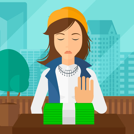 moving office: Woman moving dollar bills away and refusing to take a bribe on the background of panoramic modern office with city view vector flat design illustration. Square layout.