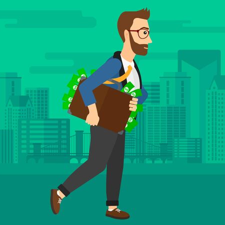 bribery: A hipster man with the beard walking with suitcase full of money on the background of modern city vector flat design illustration. Square layout. Illustration