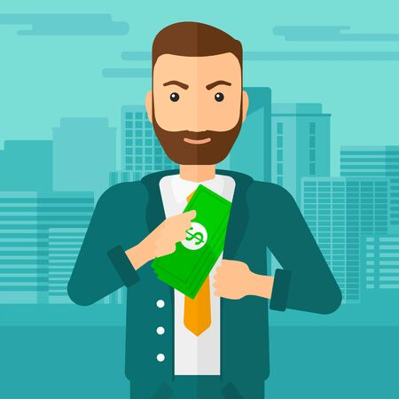 bribery: A hipster man with the beard putting money in his pocket on the background of modern city vector flat design illustration. Square layout.