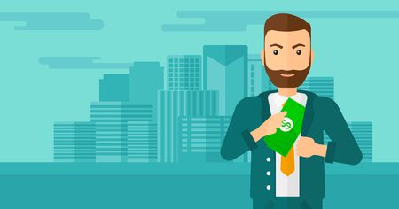 putting money in pocket: A hipster man with the beard putting money in his pocket on the background of modern city vector flat design illustration. Horizontal layout.