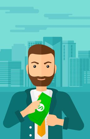putting: A hipster man with the beard putting money in his pocket on the background of modern city vector flat design illustration. Vertical layout.