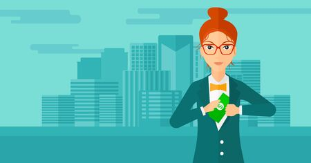 putting: A woman putting money in her pocket on the background of modern city vector flat design illustration. Horizontal layout. Illustration